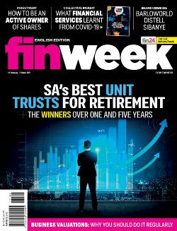 Finweek English Magazine Cover_the back of a male in suite in front of investment graphs